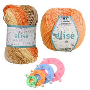Pompon Maker og Järbo Elise Garn Orange/Brun - Pompon Kit