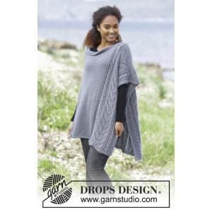 Cloudy Day by DROPS Design - Patron de Poncho Tricoté tailles S - XXXL