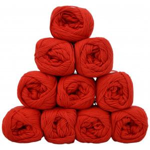 Mayflower Cotton 8/4 Junior Garnpakke Unicolor 1411 Rød - 10 stk