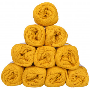 Mayflower Cotton 8/4 Junior Pack Laine Unicolore 1435 Moutarde - 10 pces