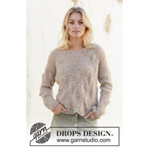 Footprints in the sand par DROPS Design - Modèle Tricot Pull Tailles S - XXXL