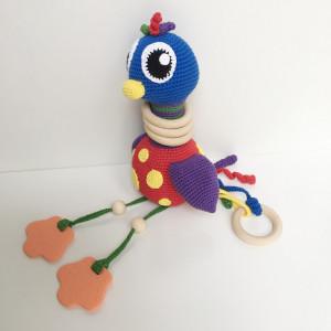 Rito Krea Activity Toy Ostrich - Modèle de Peluche Douce au Crochet Autruche 22cm