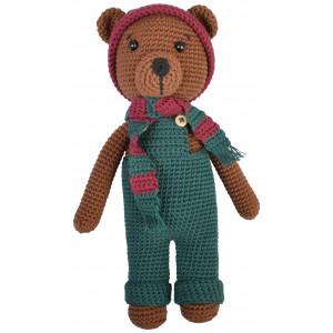 Rito Krea Bruno Teddy Bear - Modèle de Peluche Douce au Crochet Ourson 24cm