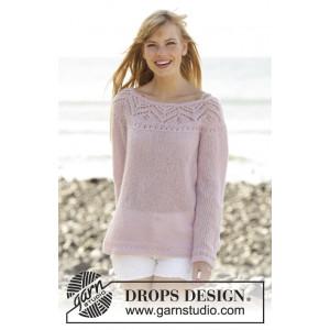 Connexion Rose par DROPS Design - Patron de Pull Tricoté avec Dentelle Tailles S - XXXL