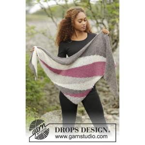 Vague Rose par DROPS Design - Patron de Châle Tricoté avec Bandes 175x62cm