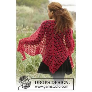 Carmen par DROPS Design - Patron de Châle au Crochet avec Dentelle 216x75cm