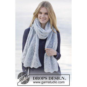 Douce Caroline par DROPS Design - Patron d'Écharpe Tricotée avec Dentelle 170x48cm